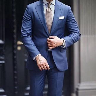 weißes und blaues vertikal gestreiftes Businesshemd von Barba