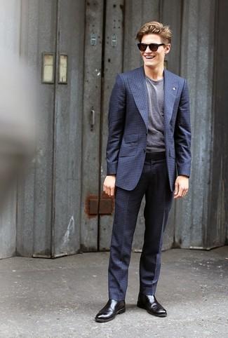 best sneakers e2e35 75fa1 dunkelblauer Anzug mit Karomuster, graues horizontal ...