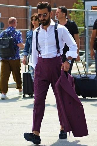 Hosenträger kombinieren – 355 Herren Outfits: Kombinieren Sie einen lila Anzug mit einem Hosenträger für ein Alltagsoutfit, das Charakter und Persönlichkeit ausstrahlt. Komplettieren Sie Ihr Outfit mit schwarzen Wildleder Slippern mit Fransen, um Ihr Modebewusstsein zu zeigen.