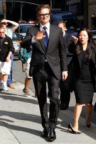 Anzug schwarzer businesshemd weisses oxford schuhe schwarze large 13772