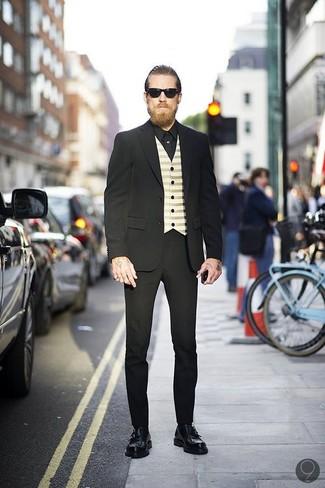 Anzug schwarzer weste hellbeige businesshemd schwarzes large 547