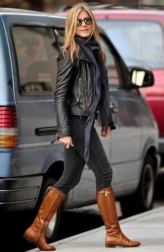 Bikerjacke enge jeans kniehohe stiefel schal sonnenbrille large 6261
