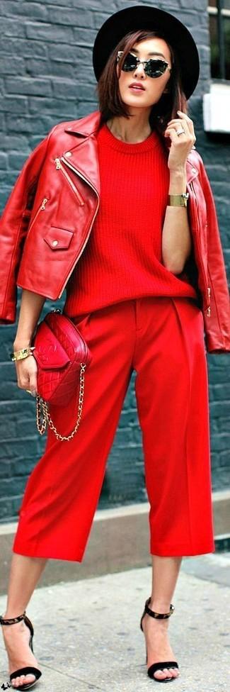 rote gesteppte Leder Umhängetasche von Aldo