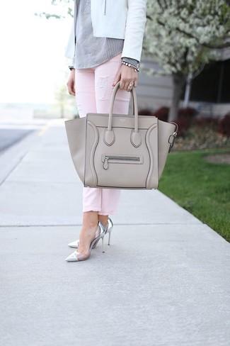 graue Shopper Tasche aus Leder von Abro