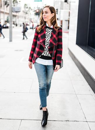 Rote und schwarze Jacke für Damen kombinieren (150