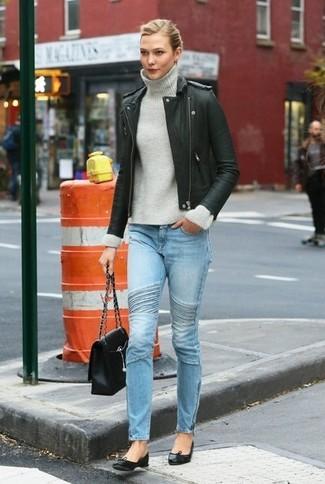 Bikerjacke rollkragenpullover enge jeans ballerinas satchel tasche large 6408