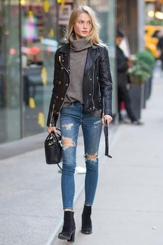 20 Jährige: Wie schwarze Lederjacke mit blauer enger Jeans