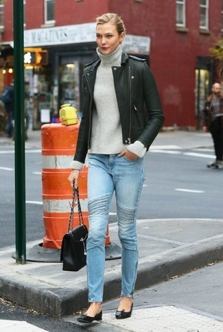 Bikerjacke rollkragenpullover enge jeans large 6408