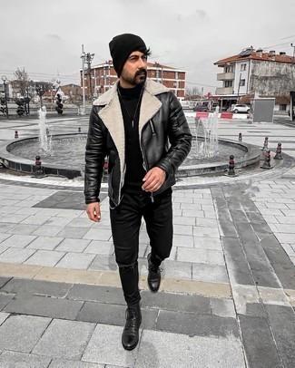 Mütze kombinieren – 1200+ Herren Outfits: Eine schwarze und weiße Leder Bikerjacke und eine Mütze sind eine ideale Outfit-Formel für Ihre Sammlung. Eine schwarze Lederfreizeitstiefel putzen umgehend selbst den bequemsten Look heraus.