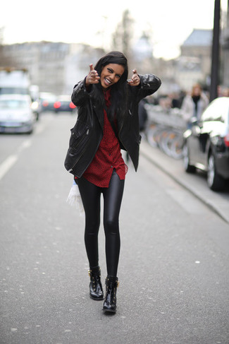 schwarze Lederleggings von Kimora Lee Simmons