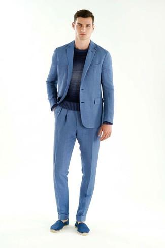 blaue Wildleder Espadrilles von Valentino