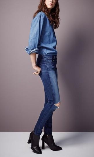 dunkelblaue enge Jeans mit Destroyed-Effekten von Dondup