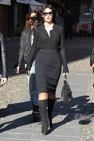 Bluse mit knoepfen schwarze bleistiftrock schwarzer kniehohe stiefel schwarze large 13810