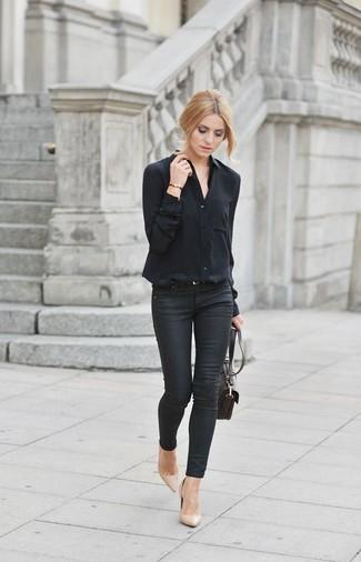 schwarze enge Jeans von Pieces