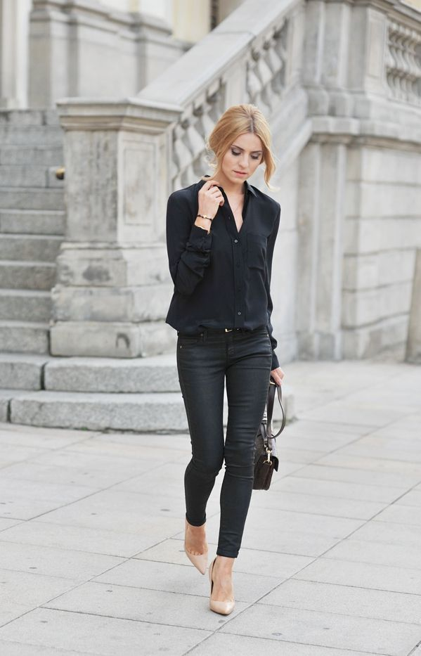 schwarze bluse outfit