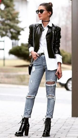 Eine schwarze leder bomberjacke und eine schwarze netzstrumpfhose von Asos sind das Outfit Ihrer Wahl für faule Tage. Schwarze schnürstiefeletten aus leder bringen Eleganz zu einem ansonsten schlichten Look.