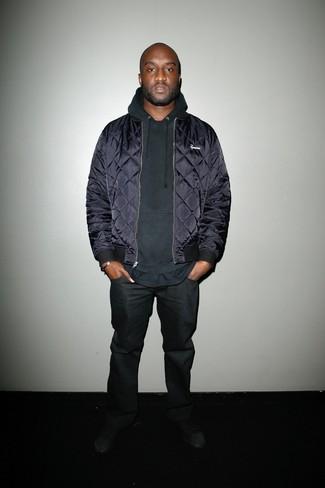 Bomberjacke dunkelblaue pullover mit einem kapuze schwarzer jeans schwarze large 21999