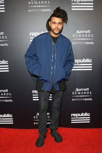 Bomberjacke dunkelblaue t shirt mit einem rundhalsausschnitt schwarzes jeans schwarze large 26278