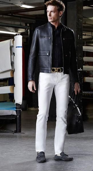 schwarze Mokassins von Versace