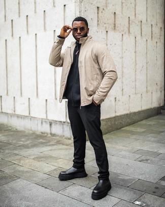 Schwarze Chelsea Boots aus Leder kombinieren – 500+ Herren Outfits: Entscheiden Sie sich für eine hellbeige Bomberjacke und eine schwarze Chinohose, um einen lockeren, aber dennoch stylischen Look zu erhalten. Schwarze Chelsea Boots aus Leder putzen umgehend selbst den bequemsten Look heraus.