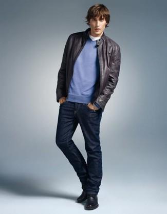 blauer Pullover mit einem V-Ausschnitt von Gant