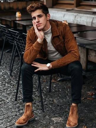 Wie Rollkragenpullover mit Chelsea-Stiefel zu kombinieren: Die Paarung aus einem Rollkragenpullover und schwarzen engen Jeans ist eine komfortable Wahl, um Besorgungen in der Stadt zu erledigen. Fühlen Sie sich mutig? Ergänzen Sie Ihr Outfit mit Chelsea-Stiefeln.