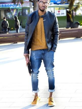 Die Vielseitigkeit von einer Schwarzen Leder Bomberjacke und Blauen Enger Jeans mit Destroyed-Effekten machen sie zu einer lohnenswerten Investition. Senf wildleder brogues verleihen einem klassischen Look eine neue Dimension.