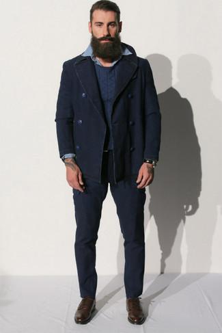 dunkelblauer Pullover mit einem Rundhalsausschnitt von Anvil