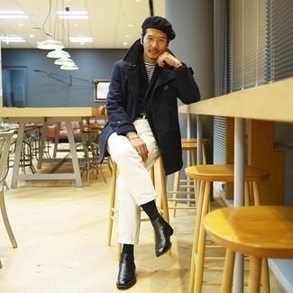 Weiße Chinohose kombinieren – 500+ Herren Outfits: Kombinieren Sie eine dunkelblaue Cabanjacke mit einer weißen Chinohose für einen für die Arbeit geeigneten Look. Komplettieren Sie Ihr Outfit mit schwarzen Chelsea Boots aus Leder, um Ihr Modebewusstsein zu zeigen.
