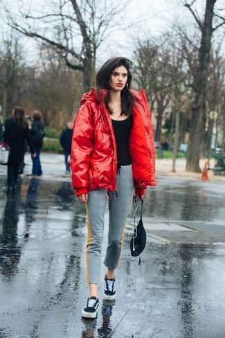 Rote Daunenjacke kombinieren (23 Outfits für Damen