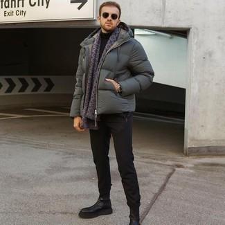 Jacke kombinieren – 500+ Herren Outfits: Tragen Sie eine Jacke und eine schwarze Chinohose für Ihren Bürojob. Fühlen Sie sich ideenreich? Vervollständigen Sie Ihr Outfit mit schwarzen Chelsea Boots aus Leder.