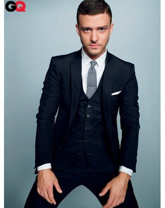 Dreiteiler dunkelblauer businesshemd weisses krawatte weisse und schwarze large 827