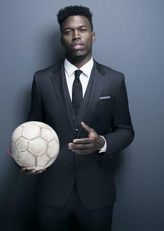 Dreiteiler schwarzer businesshemd weisses krawatte schwarze large 21992