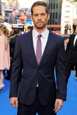 Dunkelblauer anzug weisses businesshemd violette krawatte large 633