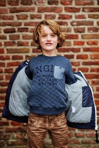 dunkelblauer bedruckter Pullover von Ralph Lauren
