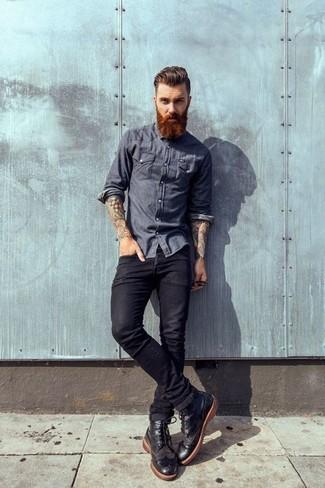 schwarze Brogue Stiefel aus Leder von ASOS DESIGN