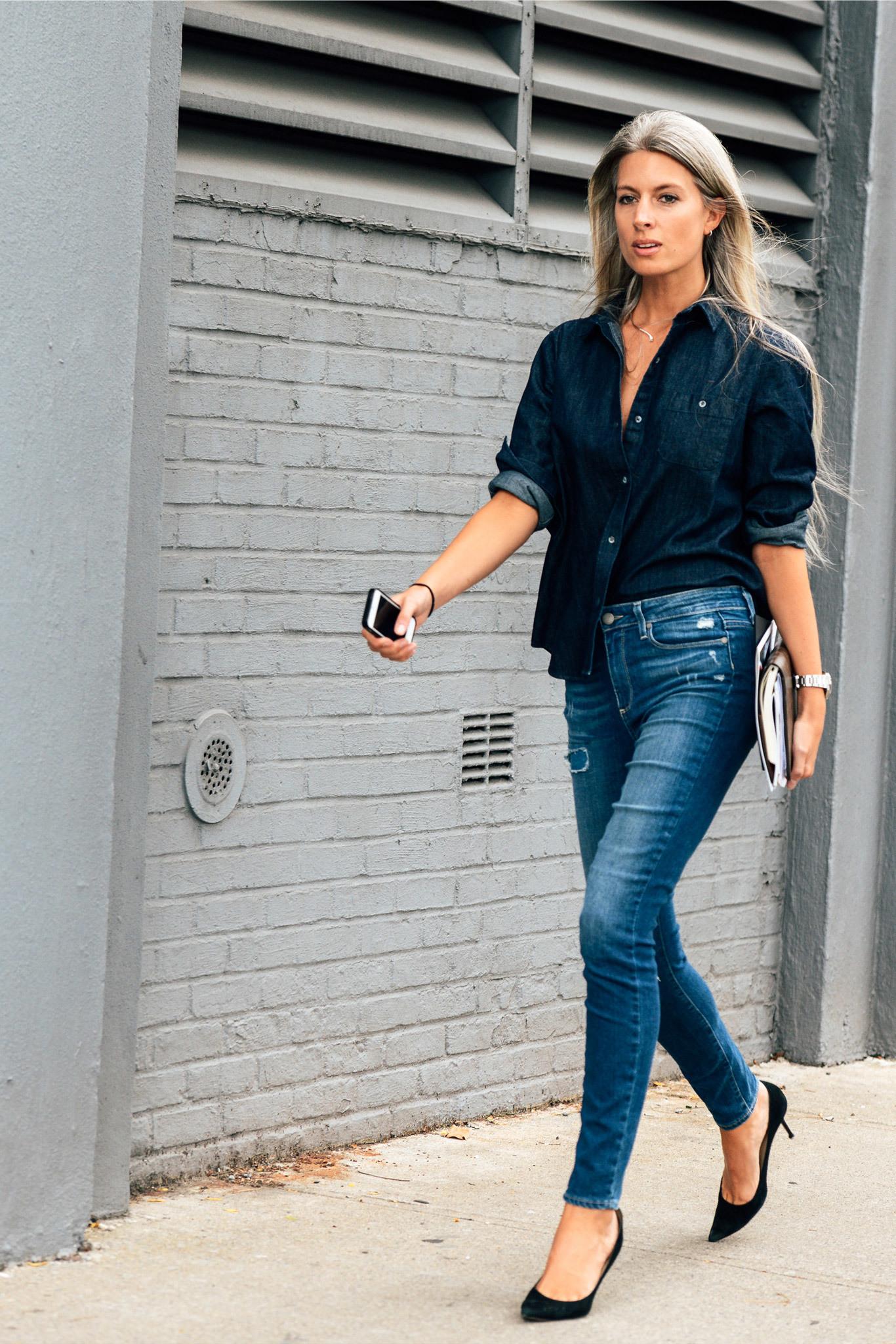 Schwarze jeans hemd damen