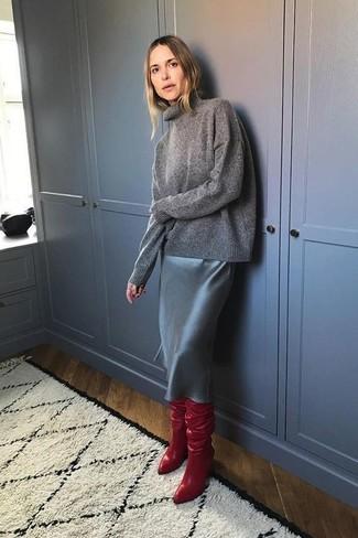 Dunkelgrauen Rollkragenpullover kombinieren: trends 2020: Perfektionieren Sie den stylischen Freizeitlook mit einem dunkelgrauen Rollkragenpullover und einem schwarzen Leder Bleistiftrock. Rote Overknee Stiefel aus Leder sind eine ideale Wahl, um dieses Outfit zu vervollständigen.