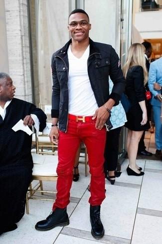 Feldjacke t shirt mit v ausschnitt jeans large 22121