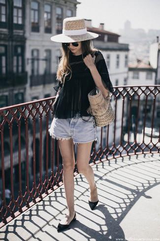 Welche Shorts mit schwarzer Ballerinas zu tragen (14 Outfits