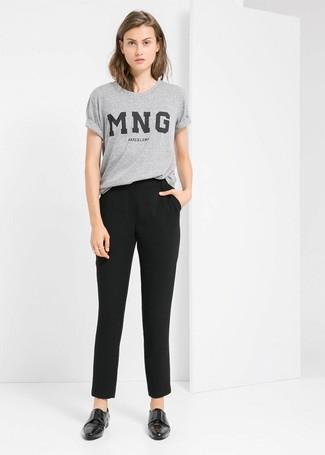 graues bedrucktes T-Shirt mit einem Rundhalsausschnitt von Lanvin