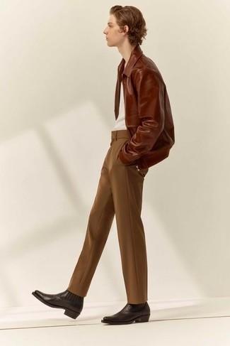 Harrington-Jacke kombinieren – 824+ Herren Outfits: Vereinigen Sie eine Harrington-Jacke mit einer braunen Chinohose, um mühelos alles zu meistern, was auch immer der Tag bringen mag. Fühlen Sie sich mutig? Wählen Sie dunkelbraunen Chelsea Boots aus Leder.