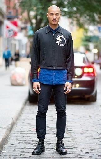 schwarze bedruckte Jacke von Geographical Norway