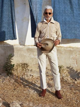 Hut kombinieren – 500+ Herren Outfits: Eine hellbeige Harrington-Jacke und ein Hut sind eine kluge Outfit-Formel für Ihre Sammlung. Fügen Sie braunen Chelsea Boots aus Leder für ein unmittelbares Style-Upgrade zu Ihrem Look hinzu.