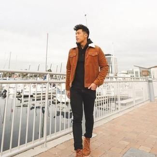 Rotbraune Harrington-Jacke kombinieren – 132 Herren Outfits: Kombinieren Sie eine rotbraune Harrington-Jacke mit schwarzen Jeans für ein großartiges Wochenend-Outfit. Fühlen Sie sich mutig? Komplettieren Sie Ihr Outfit mit einer rotbraunen Lederfreizeitstiefeln.