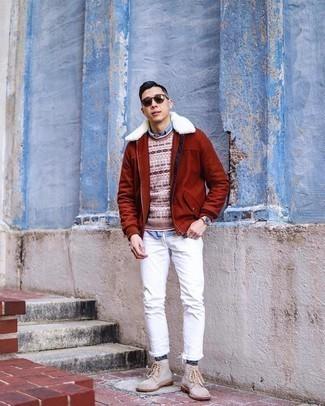 Rotbraune Harrington-Jacke kombinieren – 132 Herren Outfits: Kombinieren Sie eine rotbraune Harrington-Jacke mit weißen Jeans für einen bequemen Alltags-Look. Komplettieren Sie Ihr Outfit mit einer hellbeige Wildlederfreizeitstiefeln, um Ihr Modebewusstsein zu zeigen.