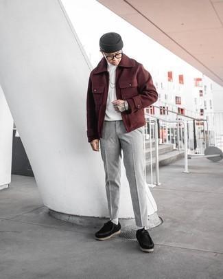 Dunkelgraue Mütze kombinieren – 500+ Herren Outfits: Vereinigen Sie eine dunkelrote Wollharrington-jacke mit einer dunkelgrauen Mütze für einen entspannten Wochenend-Look. Schwarze Chukka-Stiefel aus Segeltuch sind eine einfache Möglichkeit, Ihren Look aufzuwerten.
