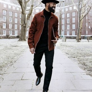 Hut kombinieren – 1200+ Herren Outfits: Vereinigen Sie eine braune Harrington-Jacke mit einem Hut für einen entspannten Wochenend-Look. Schwarze Chelsea Boots aus Leder putzen umgehend selbst den bequemsten Look heraus.