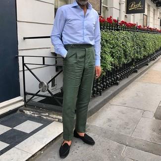 Schwarze Wildleder Slipper kombinieren: Erwägen Sie das Tragen von einem hellblauen Businesshemd und einer dunkelgrünen Anzughose für eine klassischen und verfeinerte Silhouette. Fühlen Sie sich ideenreich? Entscheiden Sie sich für schwarzen Wildleder Slipper.