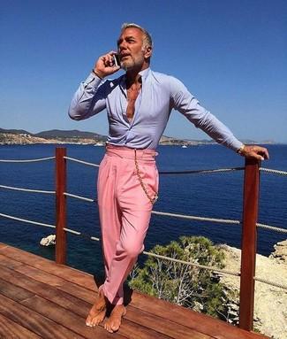 Hellblaues businesshemd rosa anzughose goldenes armband large 30584